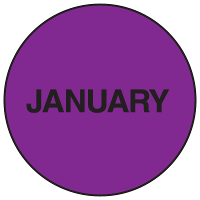 Fluorescent January Dot Labels