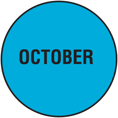Fluorescent October Dot Labels