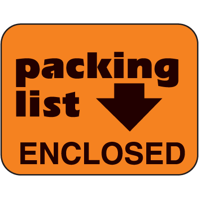 Packing List Enclosed Fluorescent Handling Labels