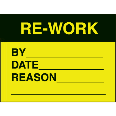 Re Work By Date Reason Fluorescent Paper Labels
