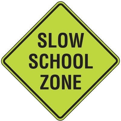 Fluorescent Pedestrian Signs - Slow School Zone