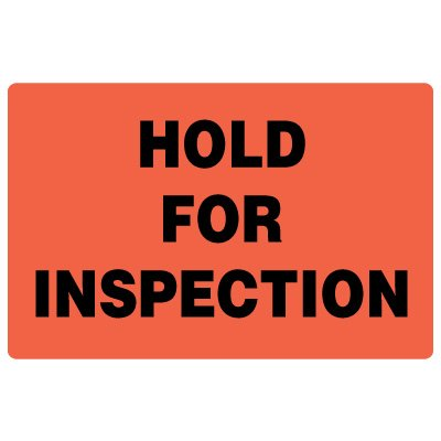 Fluorescent Warehouse & Pallet Labels - Hold For Inspection