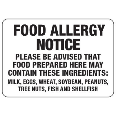 Food Allergy Notice - Food Allergy Signs
