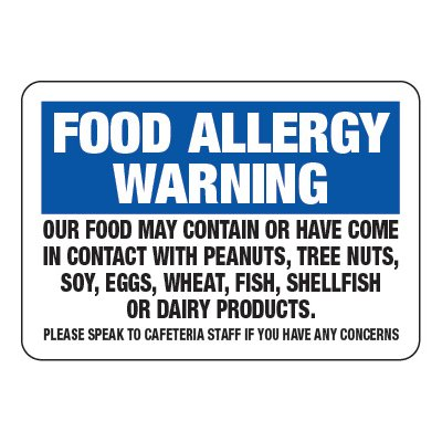 Food Allergy Warning - Food Allergy Awareness Signs