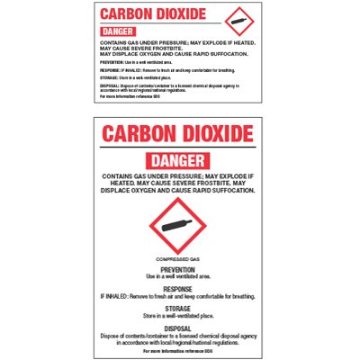 GHS Chemical Labels - Carbon Dioxide
