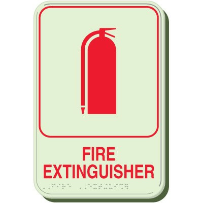 Fire Extinguisher Luminous Braille Sign