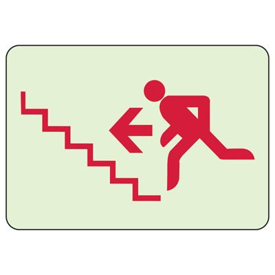 Exit Stairway With Man Running Up Left - Glow-In-The-Dark Exit Signs