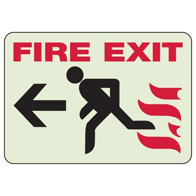 Fire Exit (Man Running Left Graphic) - Glow-In-The-Dark Exit Signs