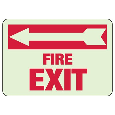 Fire Exit Arrow Left - Glow-In-The-Dark Exit Signs