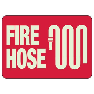 Fire Hose With Graphic - Glow-In-The-Dark Fire Extinguisher Signs