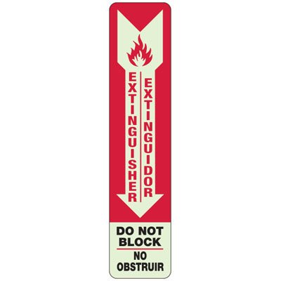 Bilingual Extinguisher Do Not Block - Exit and Fire Glow Signs