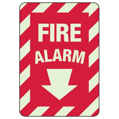 Fire Alarm Arrow Down - Glow-In-The-Dark Fire Equipment Signs