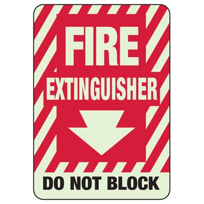 Do Not Block Arrow Down - Glow-In-The-Dark Fire Extinguisher Signs