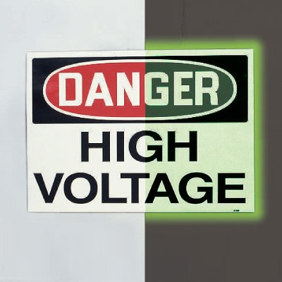 Glow-In-The-Dark Electrical Safety Signs- High Voltage