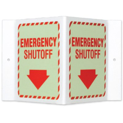 Glow-In-The-Dark Projecting Wall Signs - Emergency Shutoff