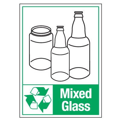 Graphic Recycling Labels - Mixed Glass