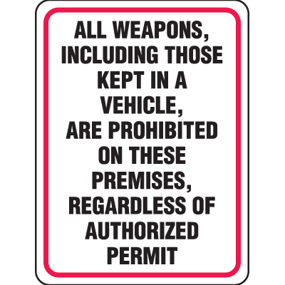 Gun Prohibition Signs - All Weapons