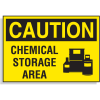 Hazard Warning Labels - Caution Chemical Storage Area (With Graphic)