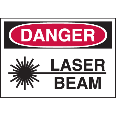 Hazard Warning Labels - Danger Laser Beam (With Graphic)