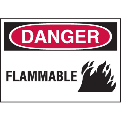 Hazard Warning Labels - Danger Flammable