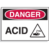 Hazard Warning Labels - Danger Acid (with Graphic)