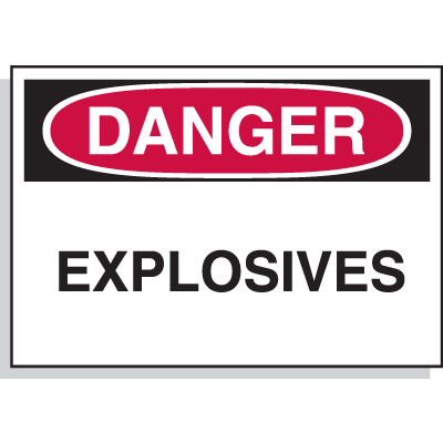Danger Explosives - Hazard Warning Label
