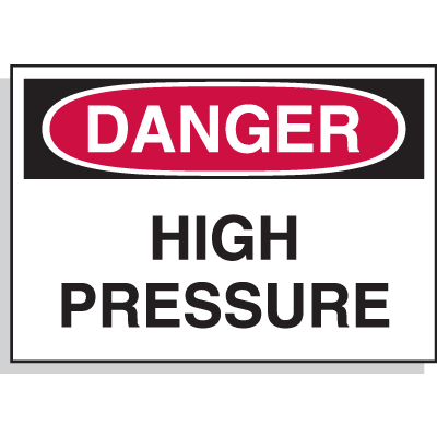Hazard Warning Labels - Danger High Pressure