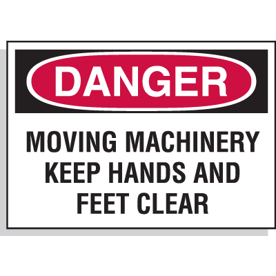 Hazard Warning Labels - Danger Moving Machinery