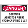 Hazard Warning Labels - Danger Contains Asbestos Fibers Avoid Creating Dust