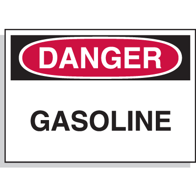 Hazard Warning Labels - Danger Gasoline