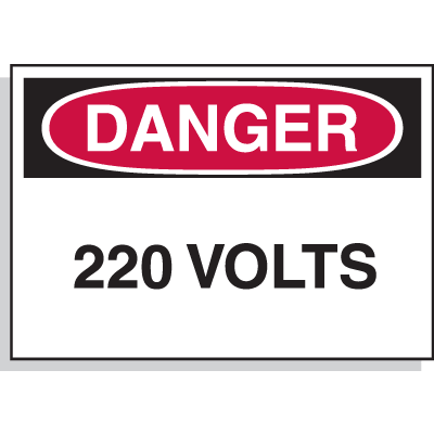 Electrical Hazard Labels - Danger 220 Volts