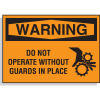 Hazard Warning Labels - Warning Do Not Operate Without Guards (With Graphic)