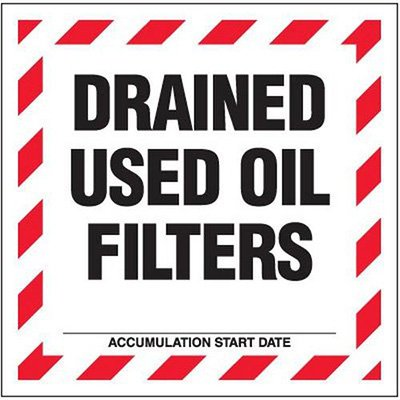 Drained Used Oil Hazardous Waste Labels