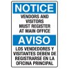 Heavy Duty Bilingual Security Signs - Notice/Aviso Vendors and Visitors