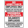 Heavy Duty Bilingual Security Signs - No Admittance/Prohibida La Entrada Employees Only