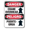 Heavy-Duty Construction Signs - Danger Crane Overhead / Peligro Puente-Grua (w/ Arrow Up Graphic)
