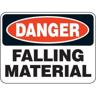 Heavy-Duty Hazardous Work Zone Signs - Danger Falling Material