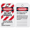 Black/Red Lockout Tags on White Heavy Duty Polyester (65520) by Brady