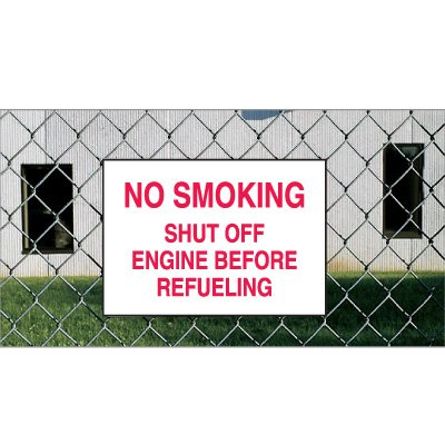 Heavy Duty Outdoor No Smoking Signs - No Smoking Shut Off Engine Before Refueling