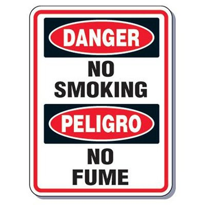 Heavy-Duty Smoking Signs - Bilingual - Danger No Smoking/Peligro No Fume