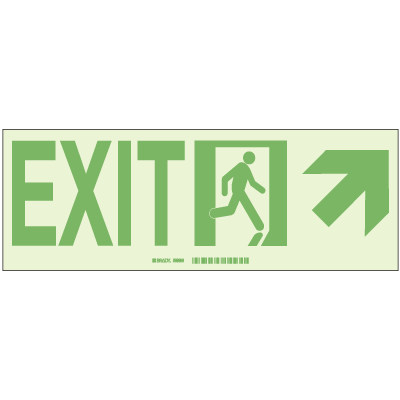 Brady® Hi-Intensity Photoluminescent Signs - Exit with Right Upper Arrow