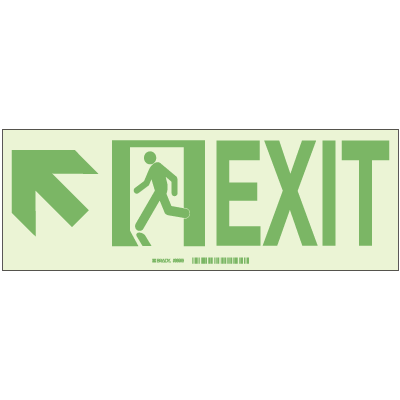 Brady® Hi-Intensity Photoluminescent Signs - Exit with Left Upward Arrow