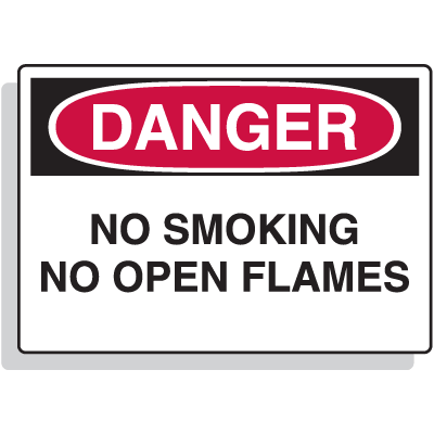 Premium Fiberglass OSHA Sign - Danger - No Smoking No Open Flames