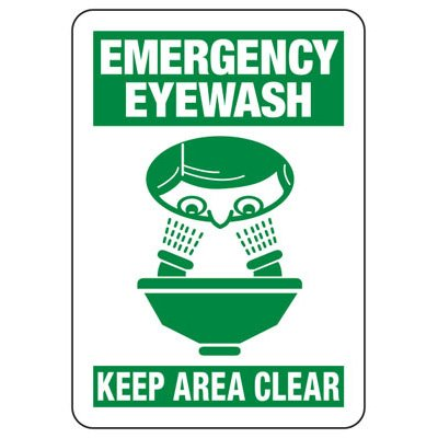 Emergency Eyewash Keep Area Clear Safety Signs