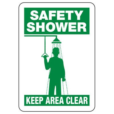 First Aid, Shower & Eyewash Signs - Safety Shower Keep Area Clear