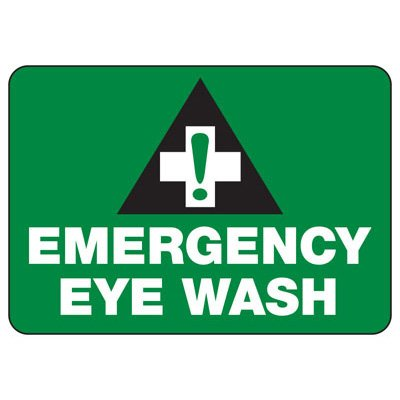 Emergency Eye Wash W/ First Aid Graphic - First Aid Sign