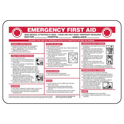 Emergency First Aid Instructions - Industrial First Aid Sign