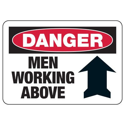 Danger Signs - Men Working Above (w/ Arrow Up)
