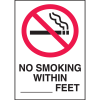 "No Smoking Within (blank) Feet Signs - 10""x14"" (w/Graphic)"