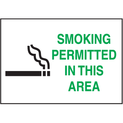 Graphic No Smoking Signs - Smoking Permitted In This Area
